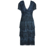 Fringed Tiered Appliquéd Embroidered Tulle Dress Storm Blue