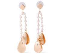 Brushed Gold-plated Faux Pearl Earrings Gold Size --