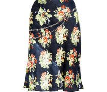 Chain-trimmed Floral-print Charmeuse Skirt Midnight Blue