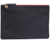 Two-tone Painted Leather Pouch Navy Size --