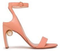 Faux Pearl-embellished Leather Sandals Peach