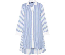 Belted Striped Cotton Shirt Dress Light Blue