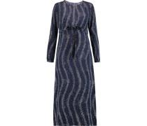 Printed Silk Crepe De Chine Midi Dress Midnight Blue
