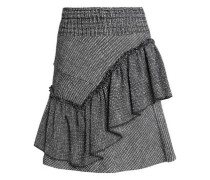 Ruffled cotton-blend jacquard mini skirt