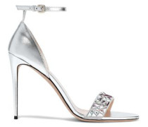 Woman Crystal-embellished Suede And Metallic Leather Sandals Silver