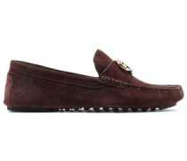 Embellished Suede Loafers Chocolate