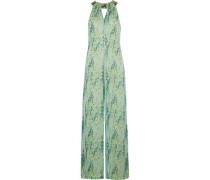 Embellished snake-print silk-chiffon jumpsuit