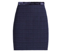 Velvet-trimmed tweed mini skirt