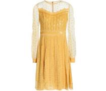 Embellished tulle-paneled silk-blend dress