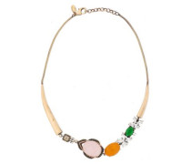 Gold-tone, Quartz And Crystal Necklace Brass Size --