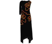 Draped appliquéd velvet midi dress