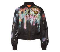 Embellished painted shell bomber jacket