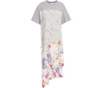 Cotton-jersey And Floral-print Crinkled Silk-chiffon Top Light Gray