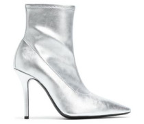 Metallic Stretch-leather Ankle Boots Silver