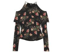 Cold-shoulder floral-print silk crepe de chine blouse