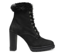 Darcy Faux Shearling-lined Textured-leather Ankle Boots Black