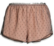 Polka-dot fringe-trimmed silk pajama shorts