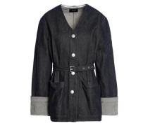 Belted marled denim jacket