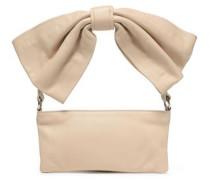 Knotted Leather Shoulder Bag Beige Size --