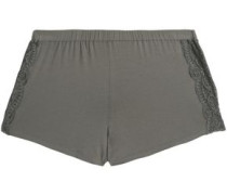 Lace-trimmed cotton-blend jersey pajama shorts