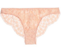 Cotton-blend lace low-rise briefs