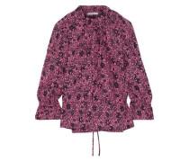 Woman Ruffle-trimmed Floral-print Cotton-jacquard Blouse Pink