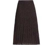 Pleated metallic crochet-knit midi skirt