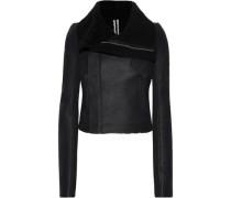 Shearling-paneled Leather Biker Jacket Black