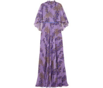 Ruffled Floral-print Silk-georgette Gown Purple