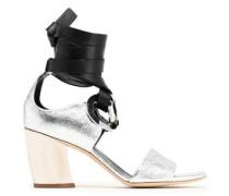 Eyelet-embellished leather and suede sandals