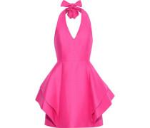 Layered Cotton And Silk-blend Halterneck Mini Dress Bright Pink