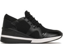 Liv Mesh-paneled Leather Sneakers Black