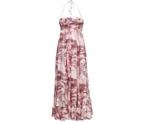 Kali Hawaiian Knotted Printed Linen Halterneck Maxi Dress Claret Size 0