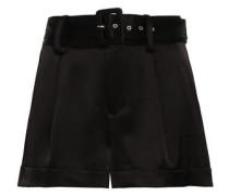Woman Belted Satin-crepe Shorts Black