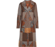 Patchwork Wool-blend Jacquard, Velvet And Tweed Coat Brown