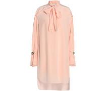 Pussy-bow silk crepe de chine mini dress