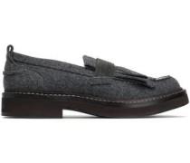 Patent leather-trimmed embellished felt loafers