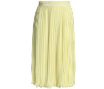 Sakurako Pleated Georgette Skirt Chartreuse