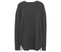 Woman Cashmere And Jersey Sweater Dark Gray