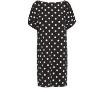 Woman Bow-detailed Polka-dot Wool-blend Crepe Mini Dress Black