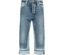 Big Jean high-rise cropped paneled straight-leg jeans
