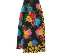Woman Camellia Wrap-effect Floral-print Silk Crepe De Chine Skirt Multicolor
