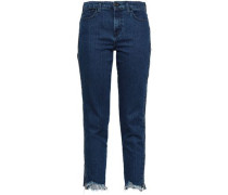 Cropped Mid-rise Slim-leg Jeans Dark Denim  4