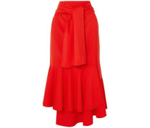 Fluted Tie-front Wool-blend Midi Skirt Red