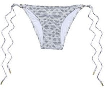Cali Striped Low-rise Bikini Briefs White Size 12