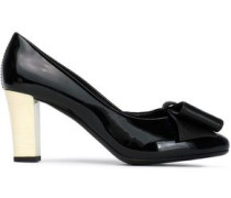 Bow-embellished patent-leather pumps