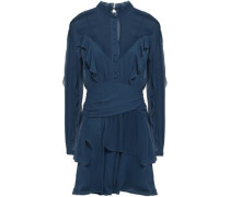 Ruffled Gathered Silk-georgette Mini Dress Storm Blue