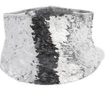 Sequined Silk Waist Belt Silver