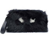 Printed shearling clutch