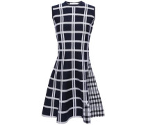 Woman Flared Checked Jacquard-knit Mini Dress Navy